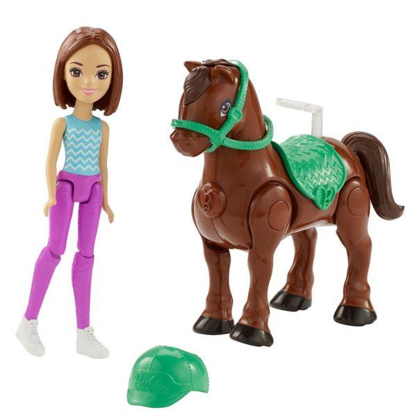 Игровой набор В движении Мини-кукла брюнетка с пони Barbie