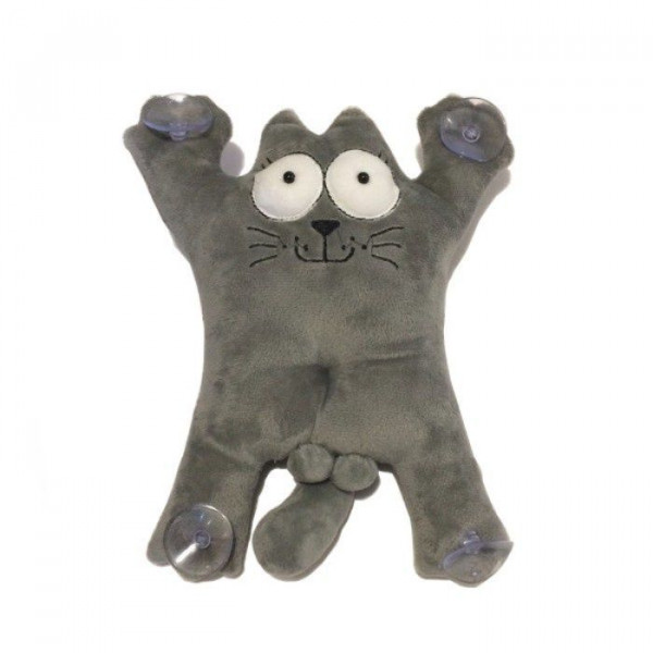 Кот Саймон на присосках серый