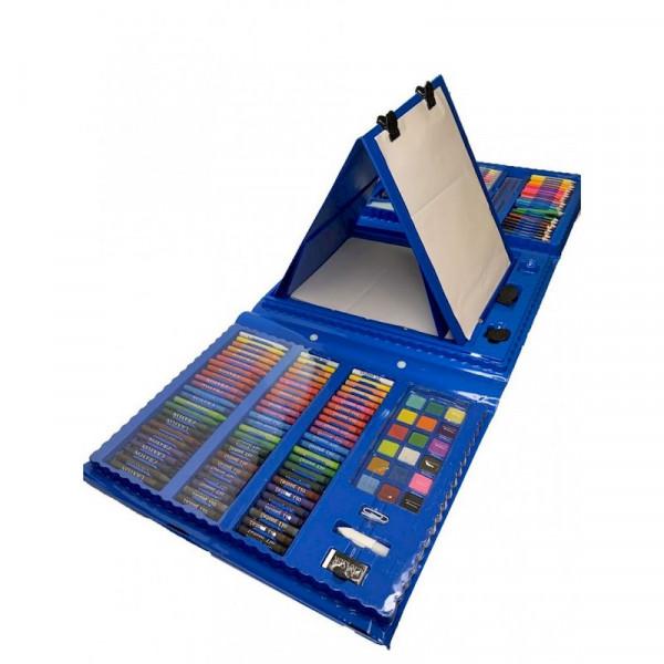 Набор для рисования с мольбертом 208 предметов (синий)