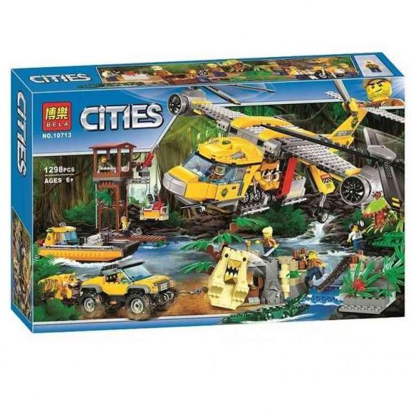 Конструктор BELA Cities 10713 Вертолет для доставки грузов в джунгли