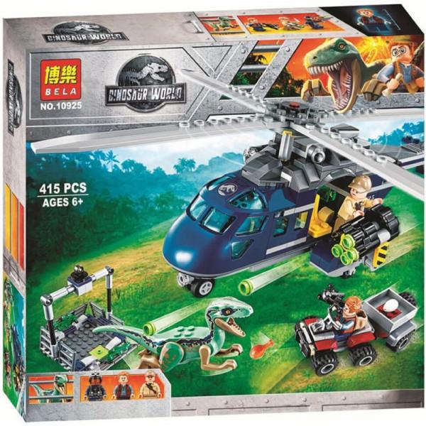 Конструктор BELA Dinosaur World 10925 Погоня за Блю на вертолете