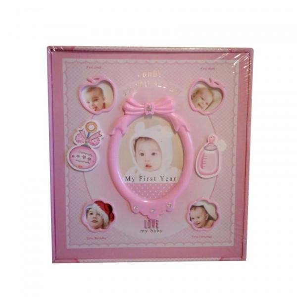 Маленький розовый Детский фотоальбом Мой первый год
