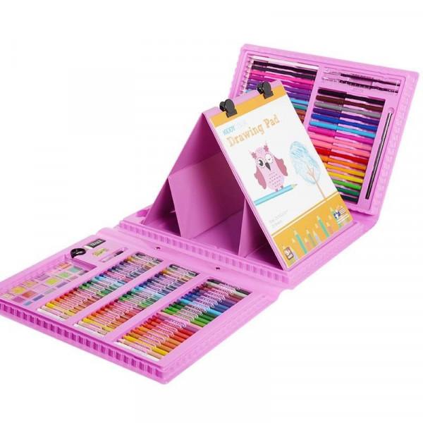 Набор для рисования с мольбертом 208 предметов (розовый)